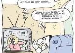 televizyonun onunden gecen kadin karikaturu serkan altunigne